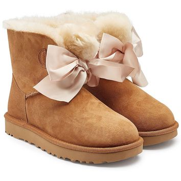 Gita Bow Suede Boots with Shearling