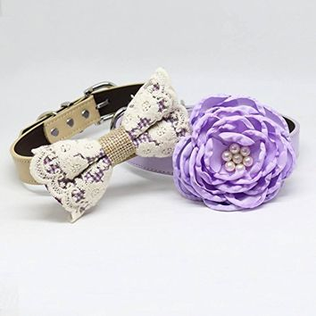 Purple and Lavender Wedding Two Dog Collars, Purple Lace bow tie and Floral Lavender Dog Collar, Handmade