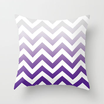 ***PURPLE FADE TO GREY CHEVRON *** Throw Pillow By Monika Strigel