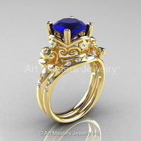 Art Masters Vintage 14K Yellow Gold 3.0 Ct Blue Sapphire Diamond Wedding Ring Set R167S-14KYGDBS