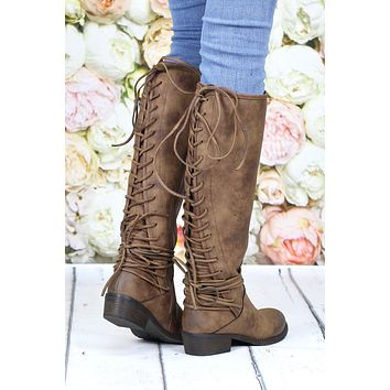 Very Volatile: Marcelina Lace Up Back Boots {Tan}