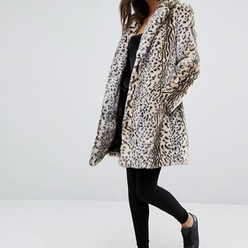 New Look Faux Fur Leopard Print Coat at asos.com