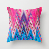 Bright Pink Teal Ikat Chevron Aztec Pattern Throw Pillow by Girly Trend
