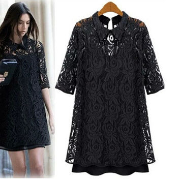 Summer Women's Fashion Plus Size Slim Lace Tops Bottom & Top One Piece Dress [6338932929]