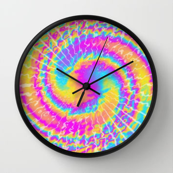 crazy tie dye Wall Clock by Pink Berry Patterns