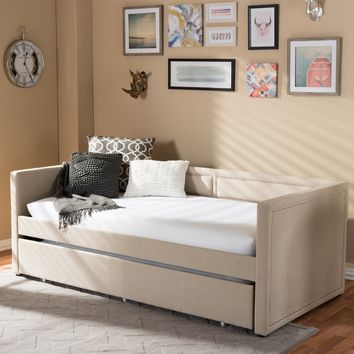 Baxton Studio Raymond Modern and Contemporary Beige Linen Fabric Nail Heads Trimmed Sofa Twin Daybed with Roll-Out Trundle Guest Bed Set of 1