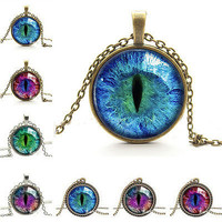 New Jewelry Cat Eye Pendant Necklace Charm Rhinestone Chain Ethnic Necklace EW