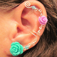 "No Piercing Ear Cuff  ""Roses are Colorful"" Cartilage Conch Cuff Silver tone Prom"