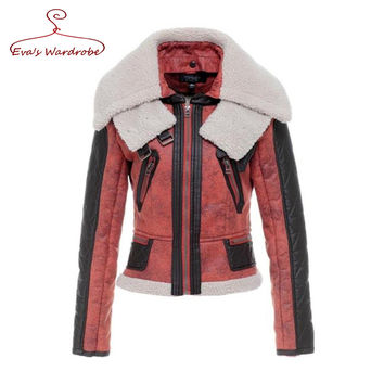 Motorcycle Leather Bomber Jacket With Wool Collar