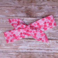 Dolly Bow REVERSIBLE Tie Up Headscarf Headband Bandana Hair Accessory Boho Rockabilly Head Wrap - Pink Floral Flower Chevron - Adult - Women