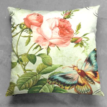 floral white pillow