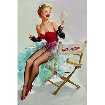 PIN-UP GIRL MS. SYLVANIA poster flirty sexy corset LEGGY SMILING 24X36