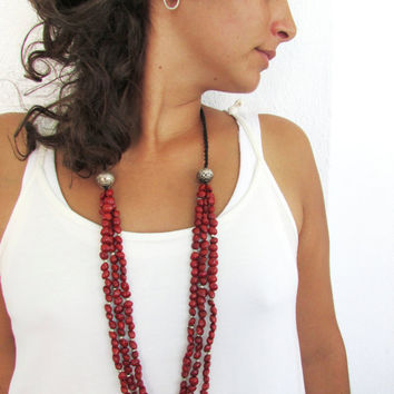 Red Seed Beads Long Necklace, Multi Strand Boho Jewelry, Women Bohemian Necklace