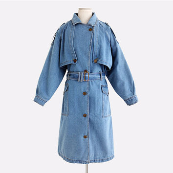 Long-Sleeve Layerede Button Collared Coat With Belt