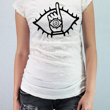 20th CENTURY BOYS Tomodachi - Women Wrinkle Shirt T-Shirt TShirt Tee Shirt with traditional silk screen