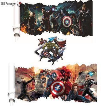 Old Passenger _ Avengers Cartoon Wall Stickers Children Room Decoration Painting Captain America Hulk Iron Man Sticker