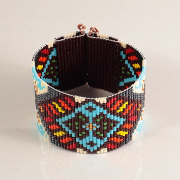 Native American Style Boho Bead Loom Bracelet - Artisanal Jewelry - Southwestern - American Indian Motif Jewelry -Western -Beaded Brown