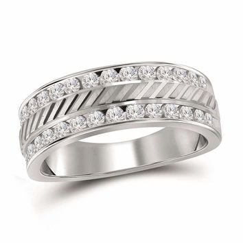 14kt White Gold Men's Round Channel-set Diamond Double Row Grecco Wedding Band Ring 1.00 Cttw - FREE Shipping (US/CAN)