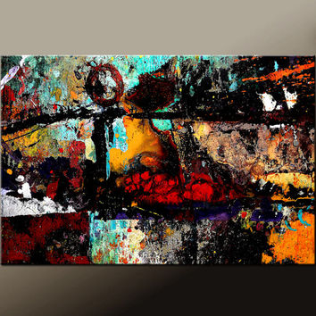 Abstract Canvas Art Prints , Large Contemporary Wall Art Print,  Wrapped Canvas, by Destiny Womack  - In My World -  dWo