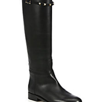 Valentino - Rockstud Leather Riding Boots - Saks Fifth Avenue Mobile