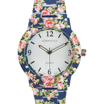 Aeropostale  Floral Metal Boyfriend Watch