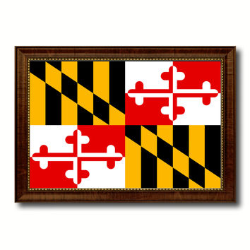 Maryland State Flag Canvas Print with Custom Brown Picture Frame Home Decor Wall Art Decoration Gifts