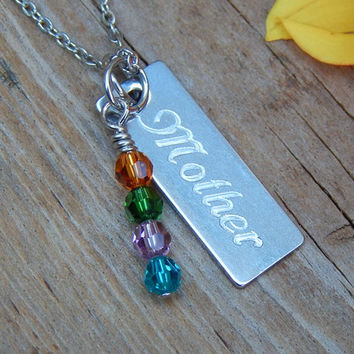 Mothers Necklace, Birthstone Necklace, Personalized Jewelry, Birthstone Jewelry, Gift for Mom, Grandma Necklace, Birthstone Charm Necklace