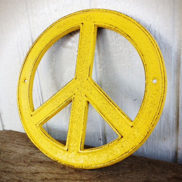 Sunny Yellow Peace Sign - Cottage Chic Retro Cast Iron Wall Art - Teen Decor