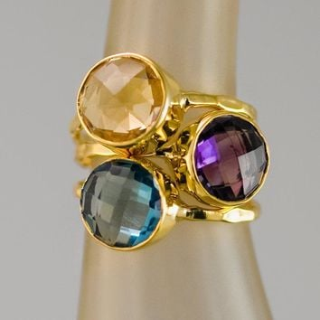 Mother's Ring Set - Birthstone Stackable Ring Set - Stacking Ring