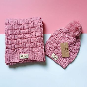 UGG Classic Popular Women Men Warm Knit Hat Cap Scarf Set Two-Piece Pink
