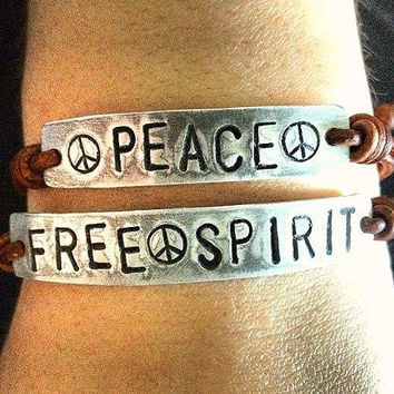 FREESPIRIT and PEACE ID Leather Bracelets Hand by DESIGNbyANCE