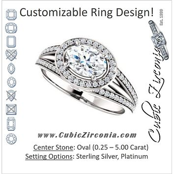 Cubic Zirconia Engagement Ring- The Hanna Jo (Customizable High-set Oval Cut Design with Halo, Wide Tri-Split Pavé Band and Round Bezel Peekaboo Accents)
