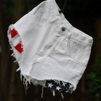 American Flag High Waisted White hipster shorts