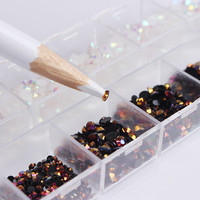 1 Box Black White Mixed Jelly Nail Rhinestones 3D Nail Art Decorations With Dotting Pen Manicure DIY Nail Art Decoration Set