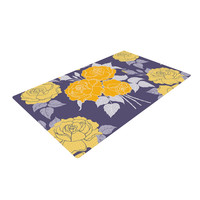 "Anneline Sophia ""Summer Rose Yellow"" Purple Lavender Woven Area Rug"