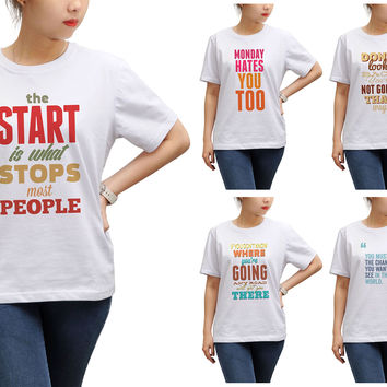 Women Quote-2 Printed Round Neck Short Sleeves T- Shirt WTS_17