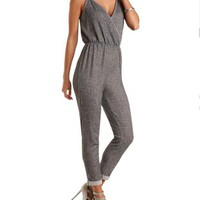 French Terry Surplice Tank Jumpsuit - Charcoal Heather