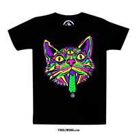 Trippy Cat Psychedelic Hippie Rave Trip Acid Neon Huichol Fluorescent Cat Neko Chat Gato Meow Roar T-Shirt