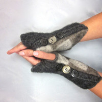 Fingerless Gloves Felted Yak Wool Charcoal Brown Beige White Upcycled Vintage Buttons OoaK