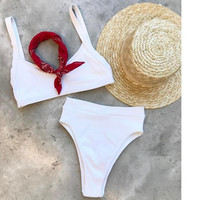 Best selling women pure color white high waist straps two piece bikini set summer