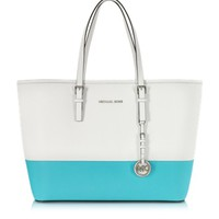 Michael Kors Designer Handbags Optic White and Aquamarine Saffiano Leather Medium Travel Tote