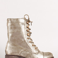 Metallic Lace Up Round Toe Chunky Heel Combat Boot