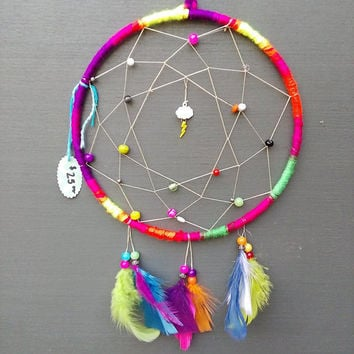 Rainbow and Lightning medium dream catcher