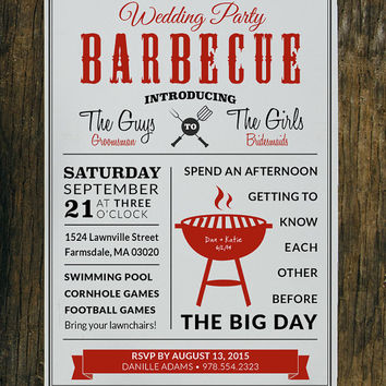 5x7 Printable Custom Wedding Party BBQ/Cookout Invitation - Digital File