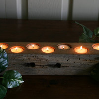 White Oak Barn Beam Candle Holder - Rustic Cabin Decor, Wedding Decoration, Center Piece