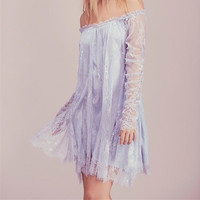 Women Summer Mini Dress Off Shoulder Neckline Long Sleeve Lace Party Sexy Dress