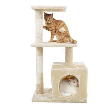 Cat Furniture Tree Scratching Post Wood Climbing Tower
