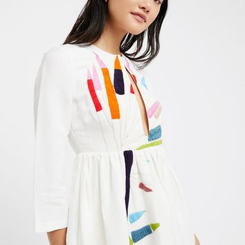 Free People Embroidered Midi Dress
