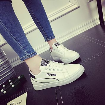 Women Fashion Sport Casual Stripe Letter Plate Shoes Small White Shoes Sneakers