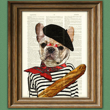 Pierre the French Bulldog dog with beret and by collageOrama